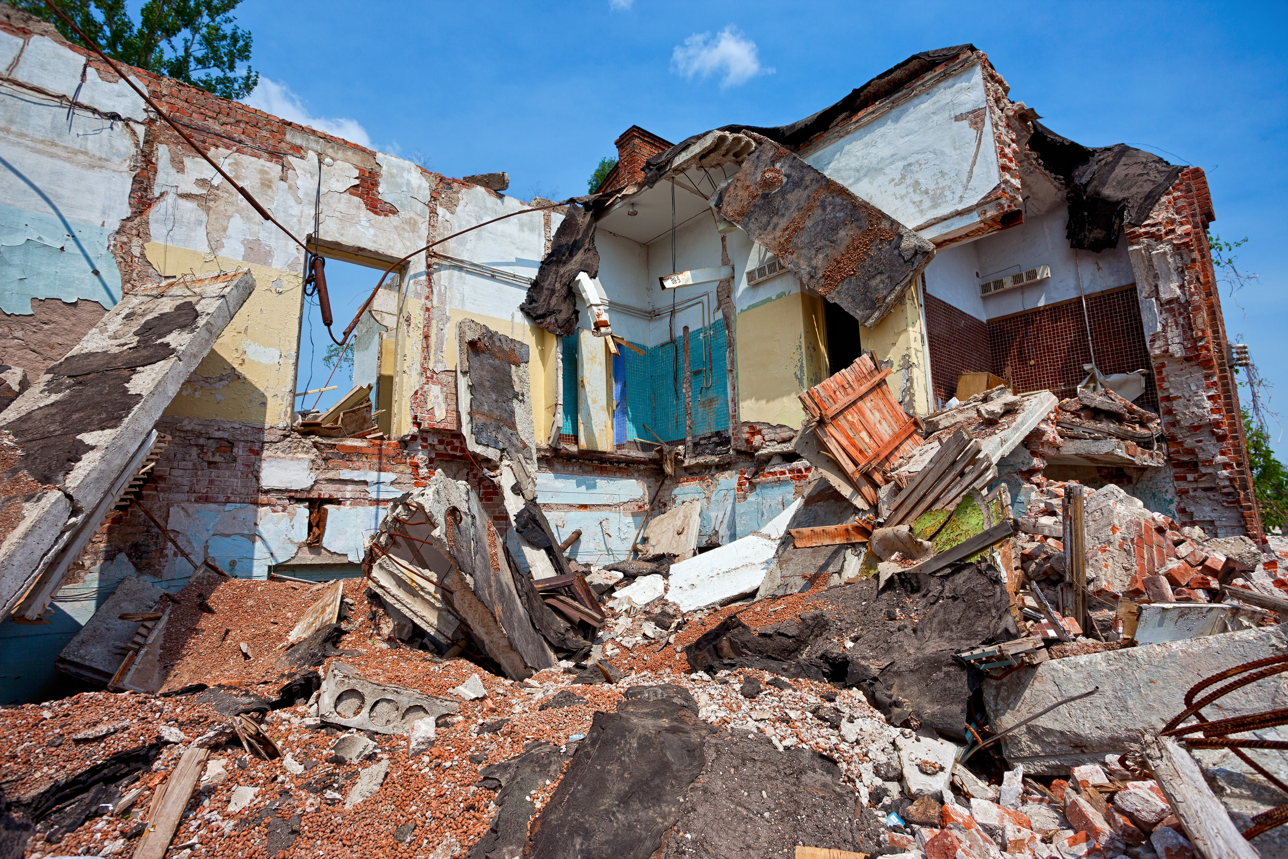 17570801 - destroyed building, can be used as demolition, earthquake, bomb, terrorist attack or natural disaster