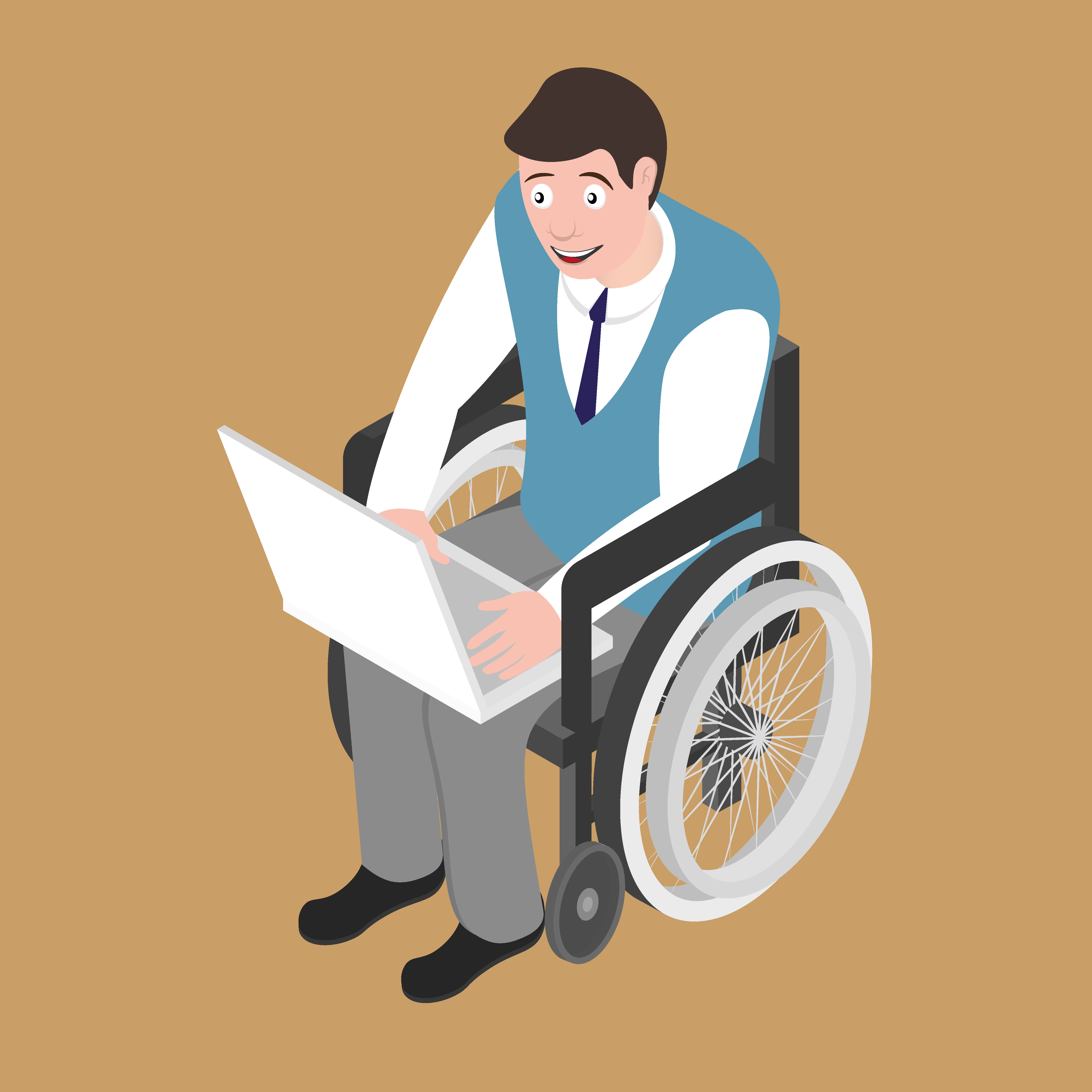 Isometric disabled man on wheelchair working with laptop